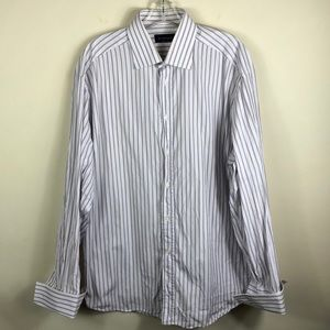 Canali Striped French Cuff Dress Shirt 17 43